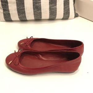 Lauren Ralph Lauren Red Bow Leather Ballet Flats 6